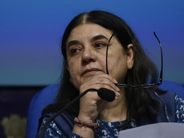"""Union women and child development minister Maneka Gandhi denied having said """"paternity leave will be just a holiday"""" in an interview to a national daily."""