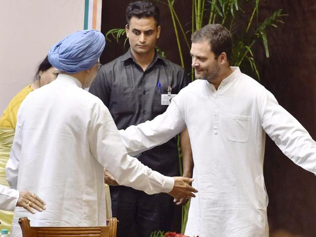 Former Prime Minister Manmohan Singh and Congress vice-president Rahul Gandh at an event in New Delhi.