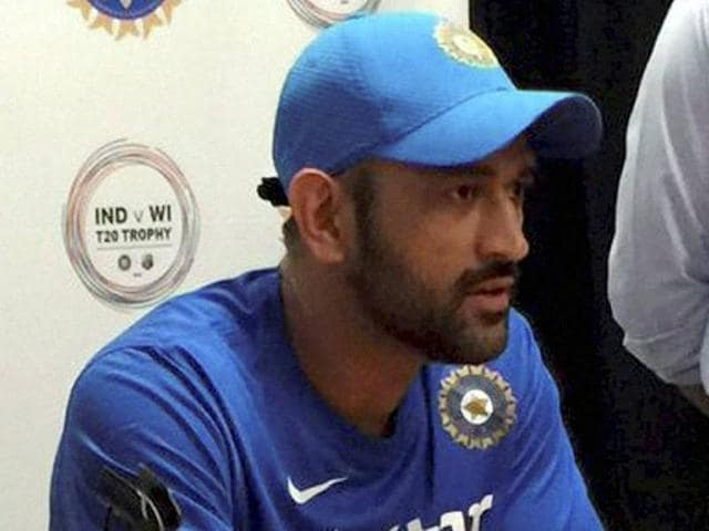 Skipper MS Dhoni addresses the media at Fort Lauderdale in Florida.