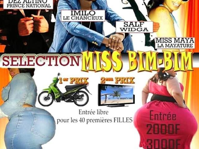 Adverts for this weekend's third edition of 'Miss Bim-Bim', carrying an image of two fully clothed women with exaggeratedly large behinds, provoked an outcry on social media.