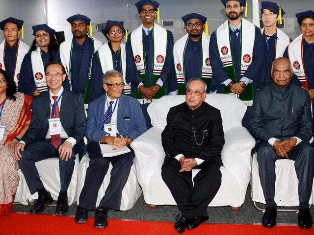 President Pranab Mukherjee with Bihar Governor Ramnath Kovind and Amartya Sen at the foundation laying ceremony of the Nalanda University at Rajgir in Nalanda district of Bihar on Saturday.