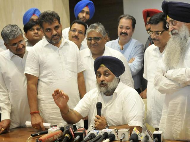 Punjab deputy chief minister Sukhbir Singh Badal addressing the mediapersons in Ludhiana on Friday.