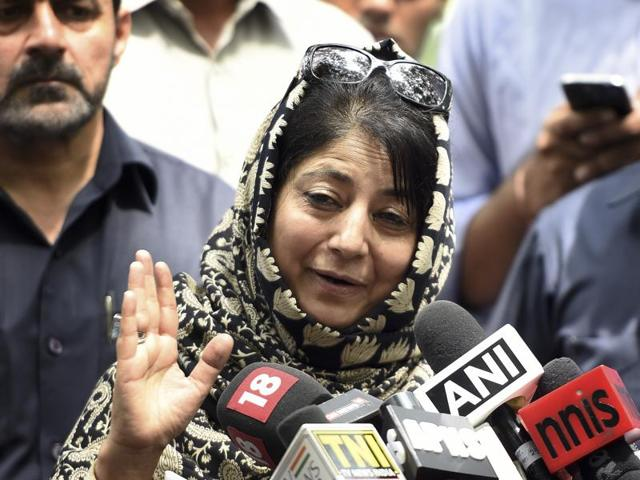 Jammu and Kashmir chief minister Mehbooba Mufti speaks to the media after meeting Prime Minister Narendra Modi on Saturday.