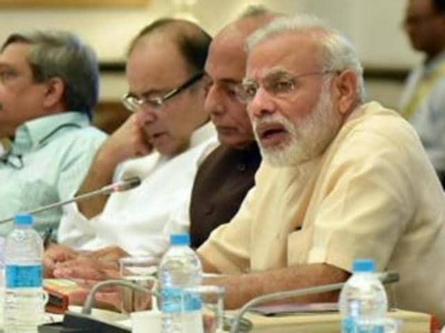 Prime Minister Narendra Modi took an over three-and-a-half-hour-long meeting of the council of ministers -- first after the recent cabinet reshuffle -- in New Delhi on Friday.