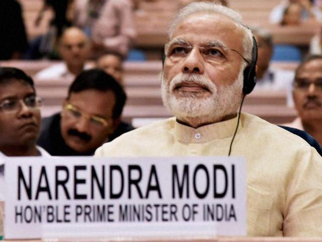 Prime Minister Narendra Modi at NITI Aayog's first annual lecture on Transforming India.(PTI Photo)