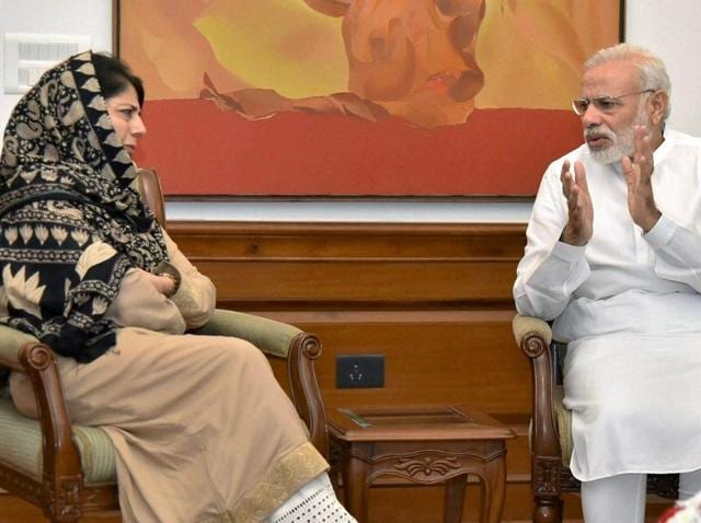 Prime minister Narendra Modi with chief minister of Jammu and Kashmir Mehbooba Mufti at a meeting in New Delhi on Saturday.