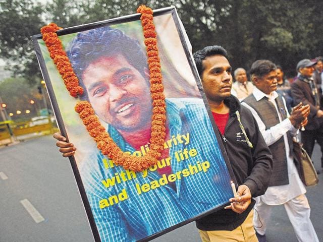 Rohith Vemula had committed suicide in January after the university management punished him for allegedly assaulting an ABVP leader.