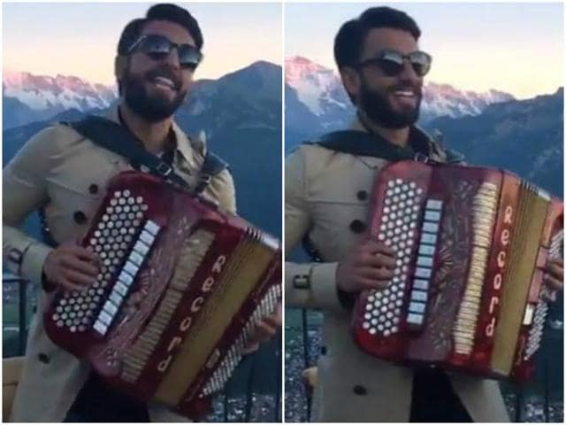 After dancing like Shah Rukh Khan in the snow and clicking pictures with topless girls, he found an accordion, played it like a desi harmonium and sang the 'cult classic' Pardesi Pardesi Jaana Nahi in the weirdest voice possible.