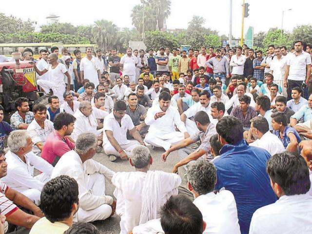 A protest was held at Pari Chowk in Greater Noida onSaturday by people who alleged inaction by police in tracing those missing.