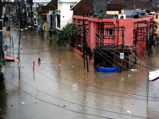 Rainwater accumulated in Sirki Bazaar in Bathinda on Saturday.