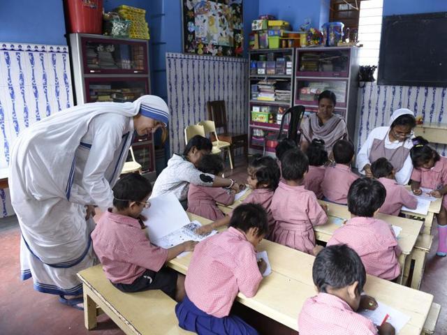 The kindergarten school at Nirmala Shishu Bhawan , a  Missionaries of Charity home for children in Kolkata