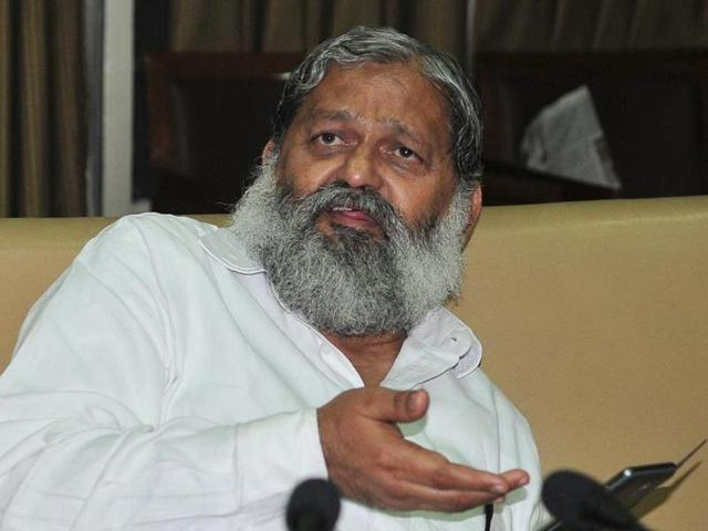 File photo of Haryana minister Anil Vij at an event in Chandigarh.