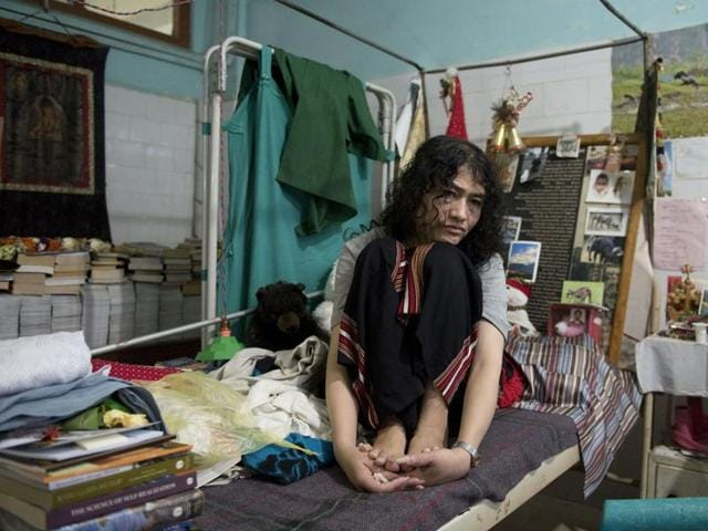 Known as the Iron Lady of Manipur, activist Irom Sharmila at her Jawaharlal Nehru Hospital room after breaking her 16-year long fast in Imphal on August 10, 2016.