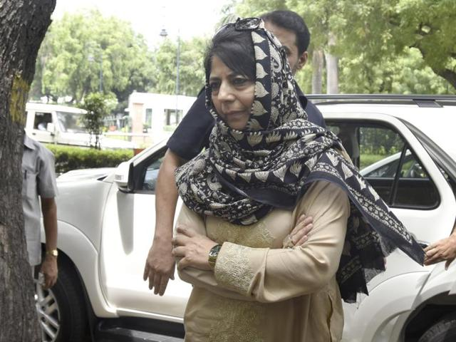 Jammu and Kashmir Chief Minister Mehbooba Mufti arrives to hold a press conference in Delhi.