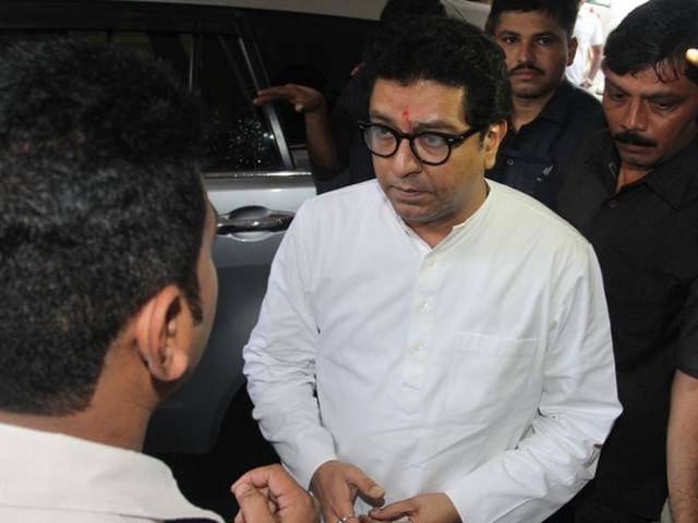 Maharashtra Navnirman Sena chief Raj Thackeray in Thane on Sunday.