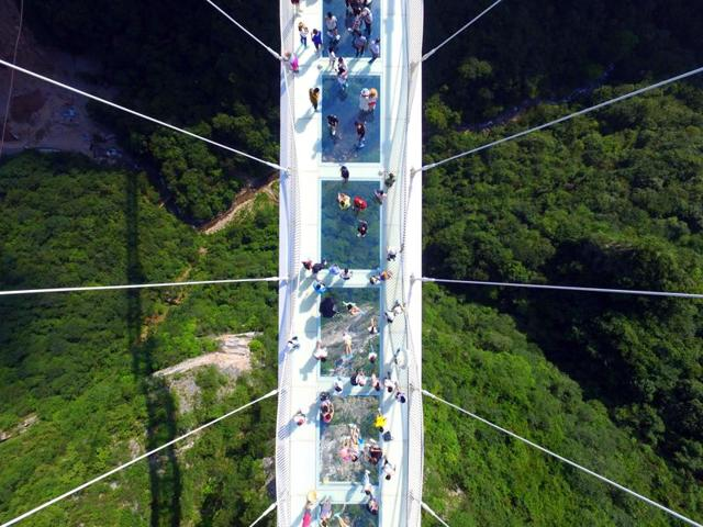 A glass-floor suspension bridge in Zhangjiajie in southern China