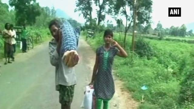 The Bahrain government, moved by reports of a man carrying his wife's body on his shoulder for burial in Odisha, has reportedly offered to extend financial help to the grieving family.(ANI Photo)