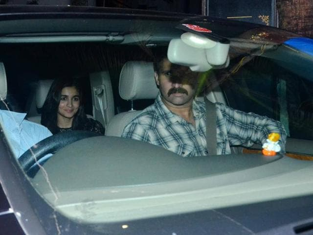 Alia Bhatt arrives at Akshay Kumar's party where Will Smith was the special guest. (Yogen Shah)
