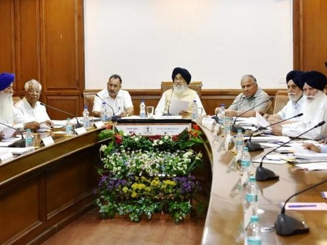 Punjab chief minister Parkash Singh Badal presiding over the Cabinet meeting at Punjab Bhawan, Chandigarh on Monday.