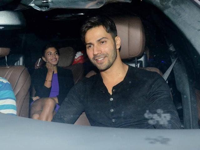Jacqueline Fernandez and Varun Dhawan at the party. (Yogen Shah)