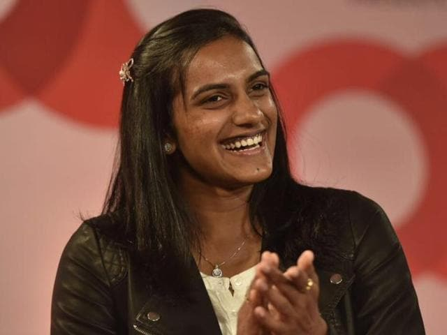 PV Sindhu and Pullela Gopichand in coversation with Shekhar Gupta during the 'Off the Cuff' show.(Saumya Khandelwal/HT Photo)