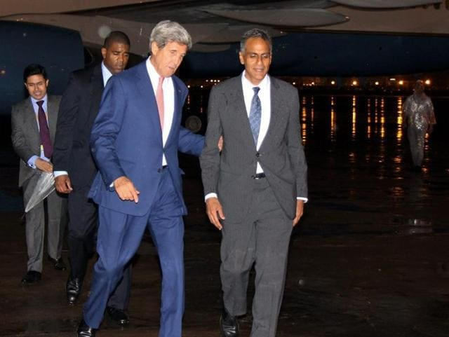 US secretary of state John Kerry with US ambassador to India, Richard Verma upon his arrival at IGI Airport in Delhi.