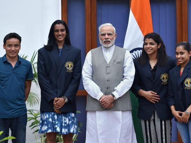 Prime Minister Narendra Modi poses with Olympic Medal Winners, Khel Ratna Awardees in New Delhi .