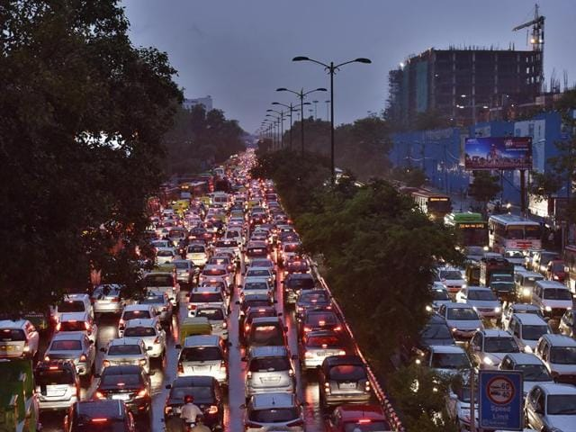 Traffic crawls at Ring Road, between South Extension and AIIMS,  on Monday.