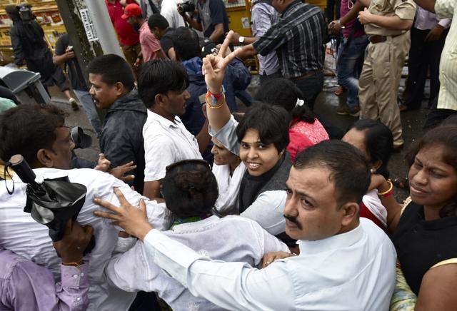 Activist Trupti Desai celebrate the HC's landmark decision outside the Haji Ali Dargah on Sunday.