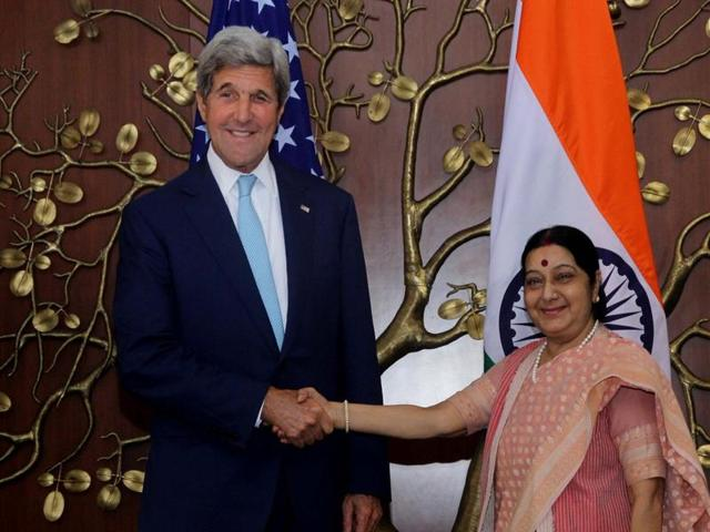 US Secretary ofState John Kerry with Indian external affairs minister Sushma Swaraj in New Delhi on August 30, 2016.