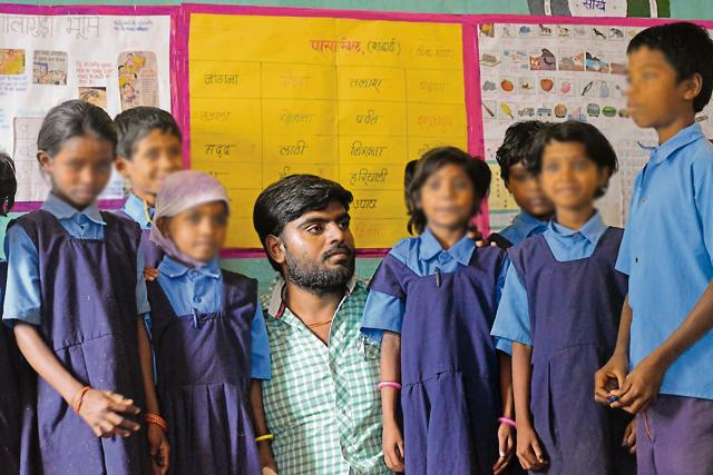 Ashish Shrivastava with students at a workshop in Chhattisgarh.