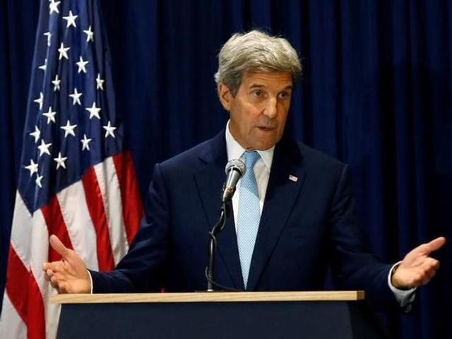 US Secretary of State John Kerry addresses a news conference in Kenya's capital Nairobi.
