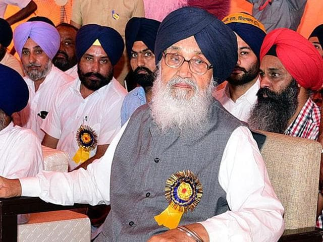 CM Parkash Singh Badal and other SAD leaders at a rally in Lambi segment, Muktsar, on Tuesday.