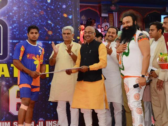 Union sports minister Vijay Goel at a Dera Sacha Sauda function in Sirsa on Monday.