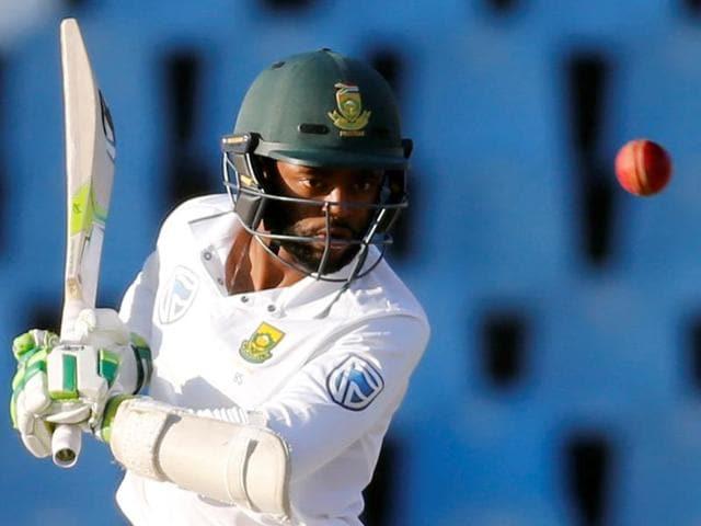 South African batsman Temba Bavuma plays a shot during his unbeaten 25 on Day Three.
