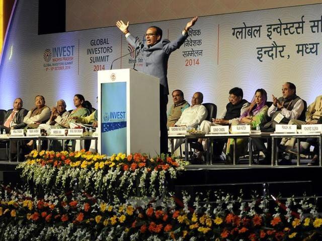 Chief minister Shivraj Singh Chouhan during the Global Investors Summit 2014 in Indore.