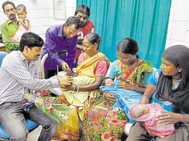 Four newborn babies were enrolled under the Aadhaar scheme within an hour of their births in Jamshedpur.