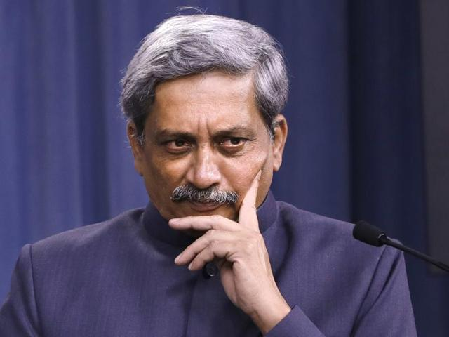 Defence minister Manohar Parrikar during a joint news conference with US defense secretary Ash Carter at the Pentagon.
