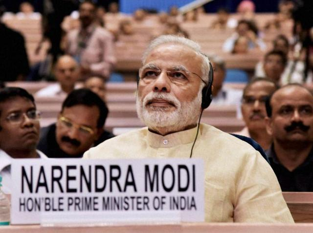 Prime Minister Narendra Modi attends NITI Aayog's first annual lecture on Transforming India in New Delhi.