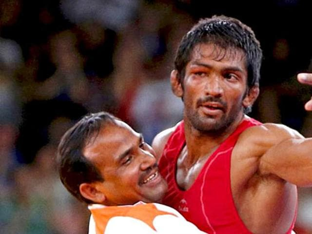 Yogeshwar Dutt moves up as sample of silver medallist from Russia has been found positive for dope test.