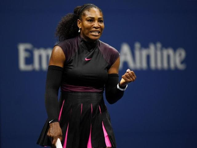 Serena Williams of the United States celebrates her victory over Ekaterina Makarova of Russia.