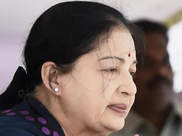 Tamil Nadu chief minister J Jayalalithaa at the secretariat in Chennai.