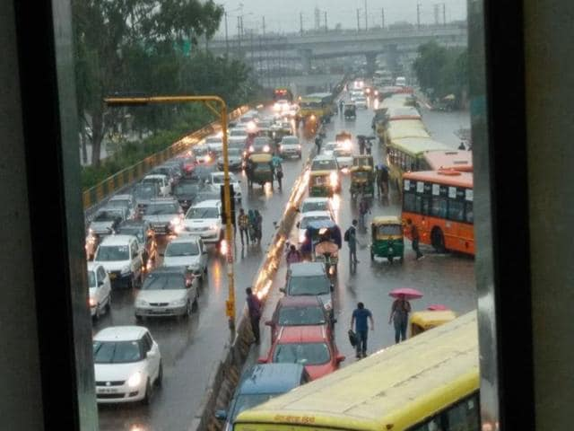 The heavy monsoon showers led to waterlogging in many areas and massive traffic jams across Delhi and NCR.