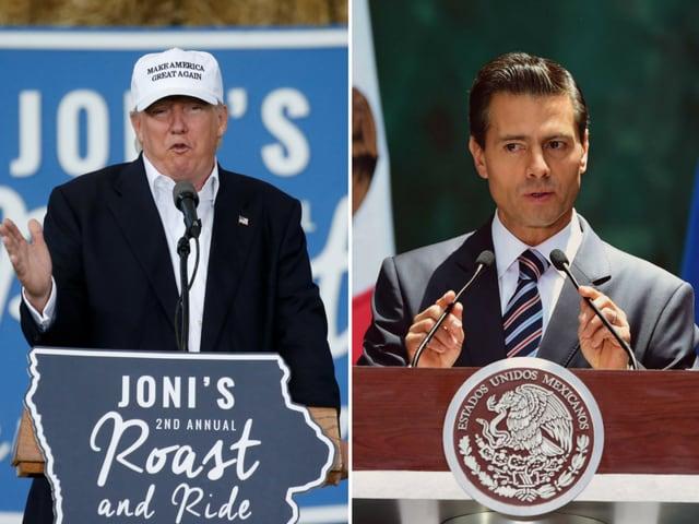 Donald Trump (left)may accept President Enrique Pena Nieto's (right) invite to visit Mexico.