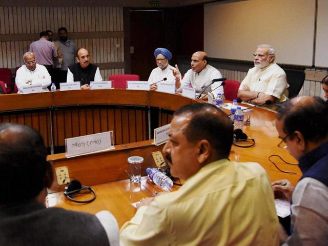 Prime Minister Narendra Modi with Union home minister Rajnath Singh, former prime minister Manmohan Singh and other leaders at an all-party meeting on Kashmir situation at Parliament in New Delhi.