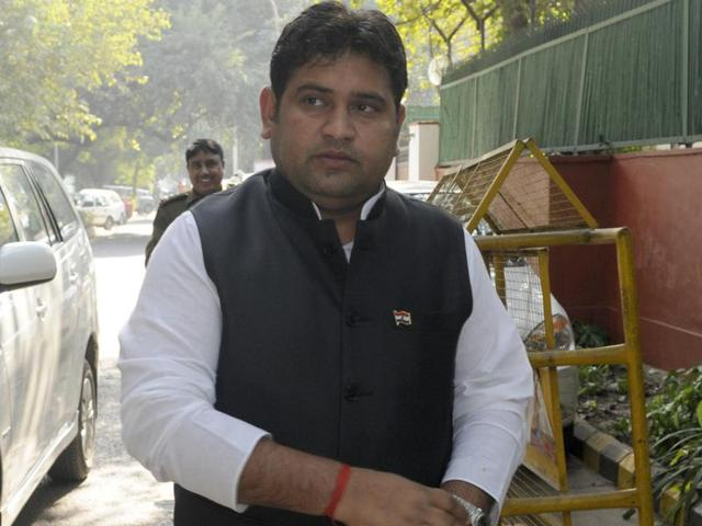 Social welfare minister Sandeep Kumar interacts with journalists in New Delhi.