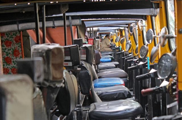 Autorickshaws stand idle outside Lokmanya Tilak Terminus during the strike on Wednesday.