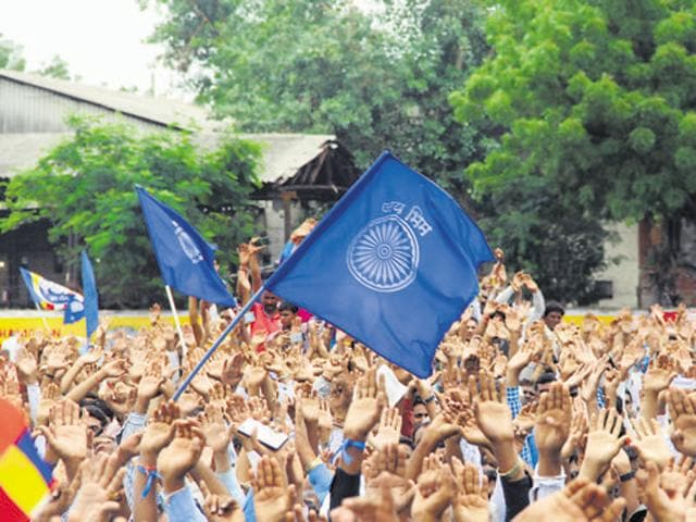 Dalits from all over Gujarat protest in Ahmedabad over the recent attack on Dalit men in Una, in Gujarat on  July 31, 2016.