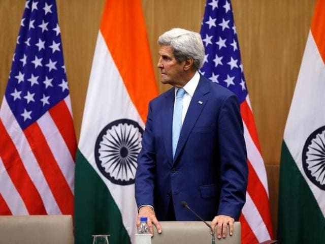 US secretary of state John Kerry leaves after his joint news conference with India's external affairs minister Sushma Swaraj (not pictured) in New Delhi on August 30.