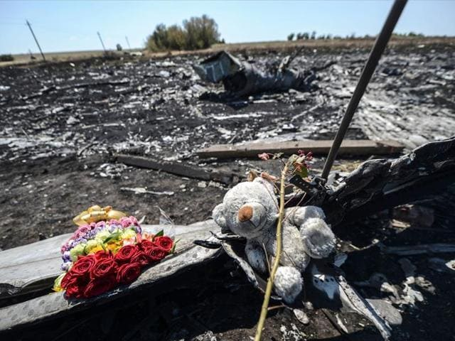 This file photo taken on July 26, 2014 shows flowers and a teddy bear, left by parents of an Australian victim of the crash, on a piece of the Malaysia Airlines plane MH17, near the village of Hrabove (Grabove), in the Donetsk region.